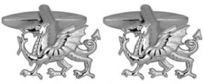 New WELSH DRAGON Cufflinks in Box with 2 Year Guarantee Gold or Rhodium Plated